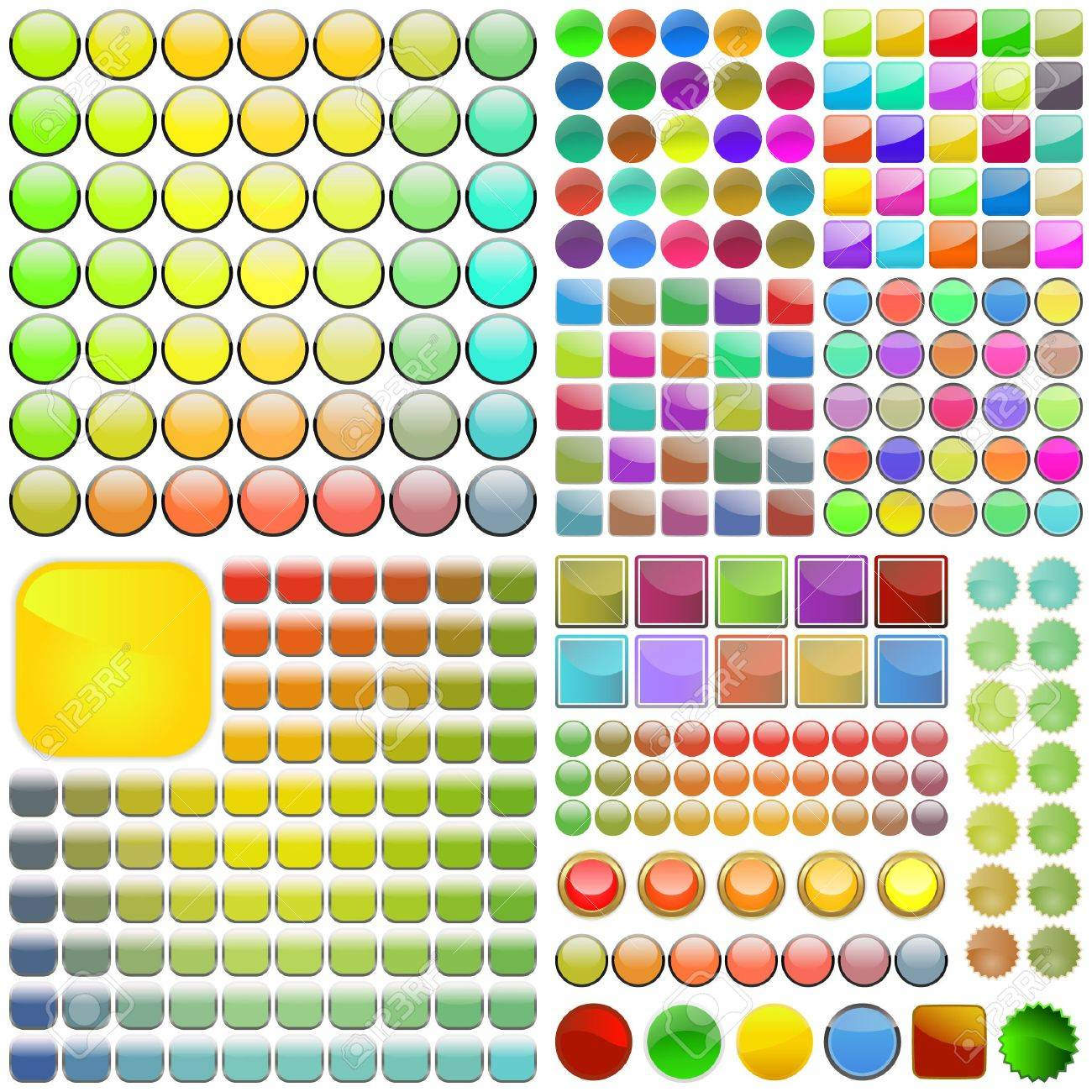 Varicoloured button set. Vector great collection. Stock Vector - 6549594