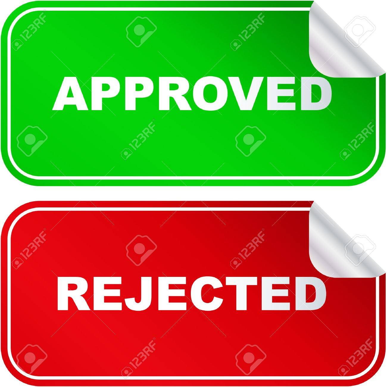Approved and rejected stickers. Stock Vector - 6544974