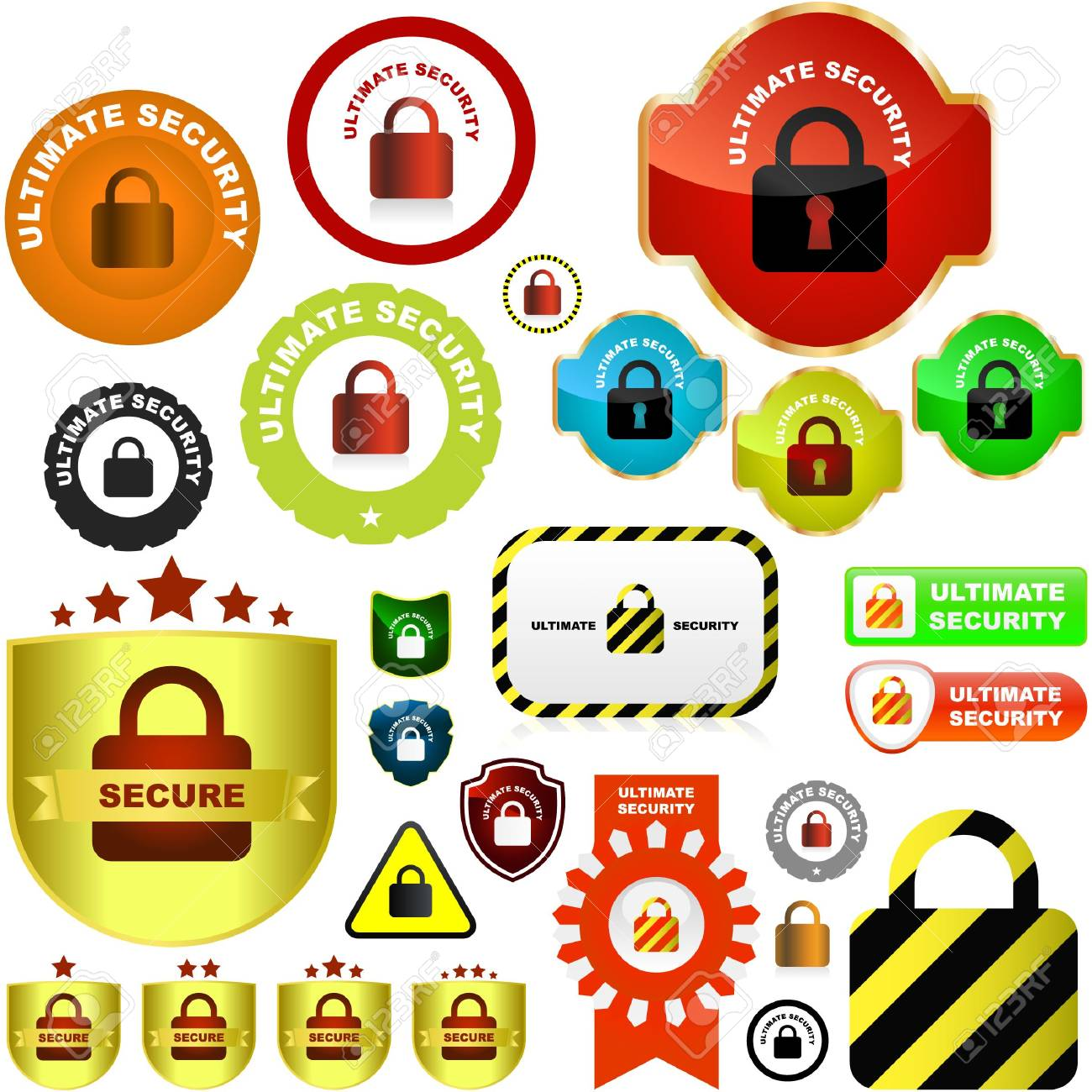 Padlock button set. great collection. Stock Vector - 6577557
