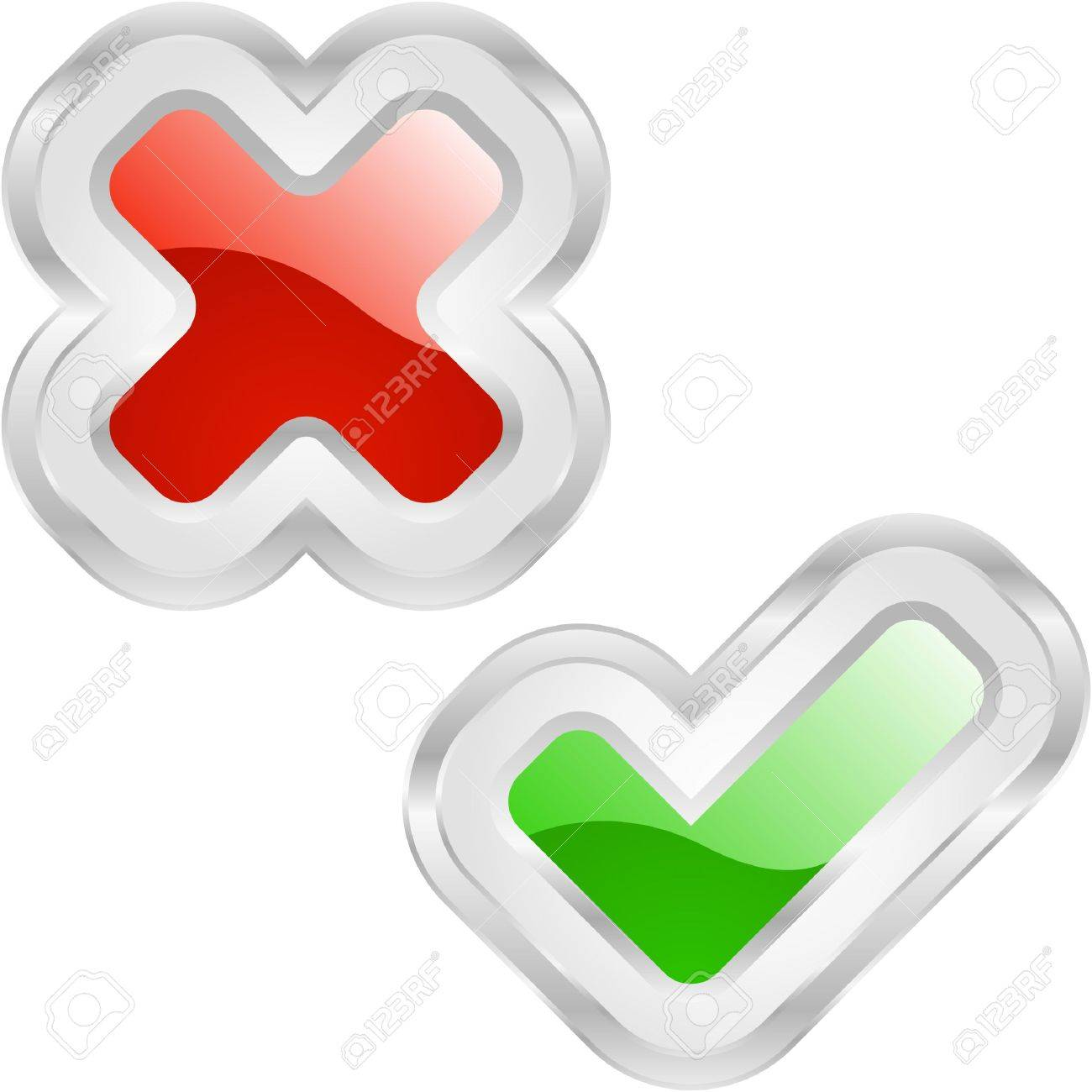 Approved and rejected buttons. Stock Vector - 6876888