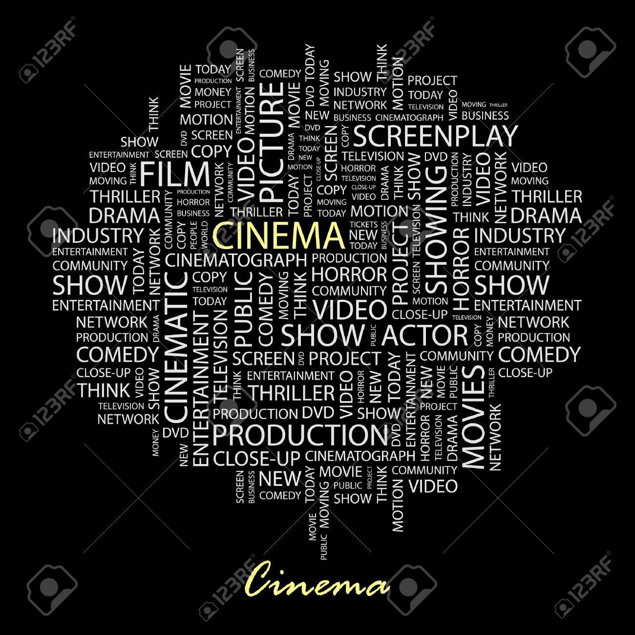 CINEMA. Word collage on black background. Stock Vector - 6878672