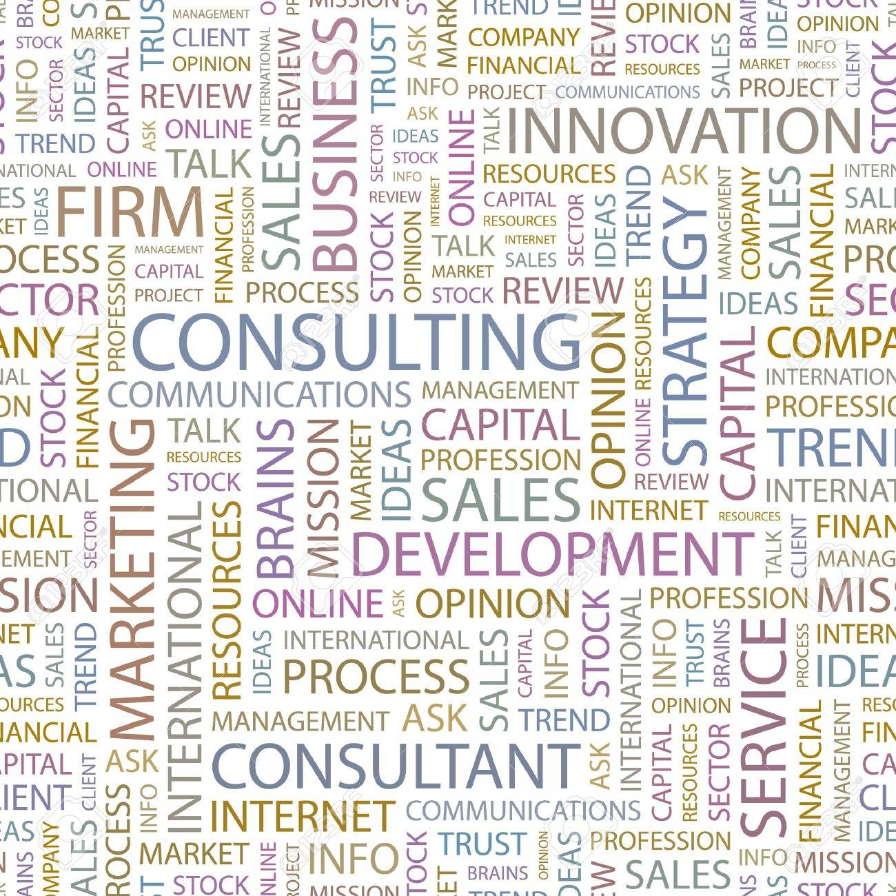 CONSULTING. Seamless background. Wordcloud illustration. Stock Vector - 6879608
