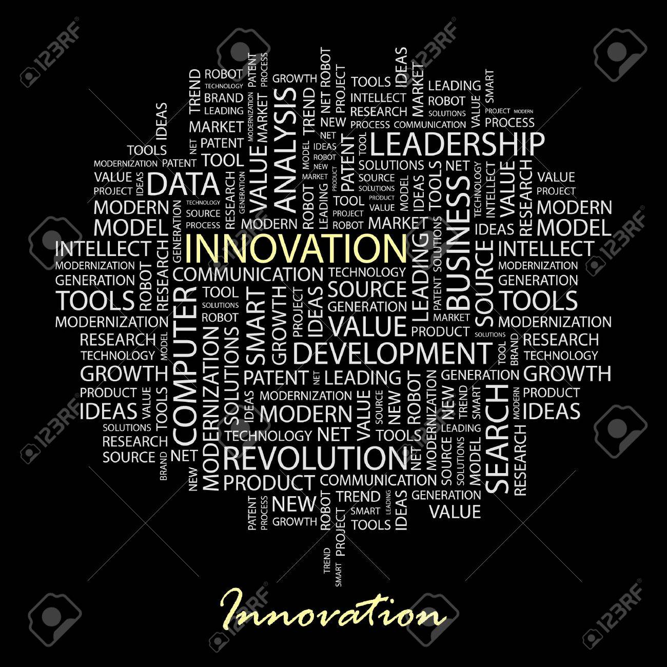 INNOVATION. Word collage on black background. Stock Vector - 6879994
