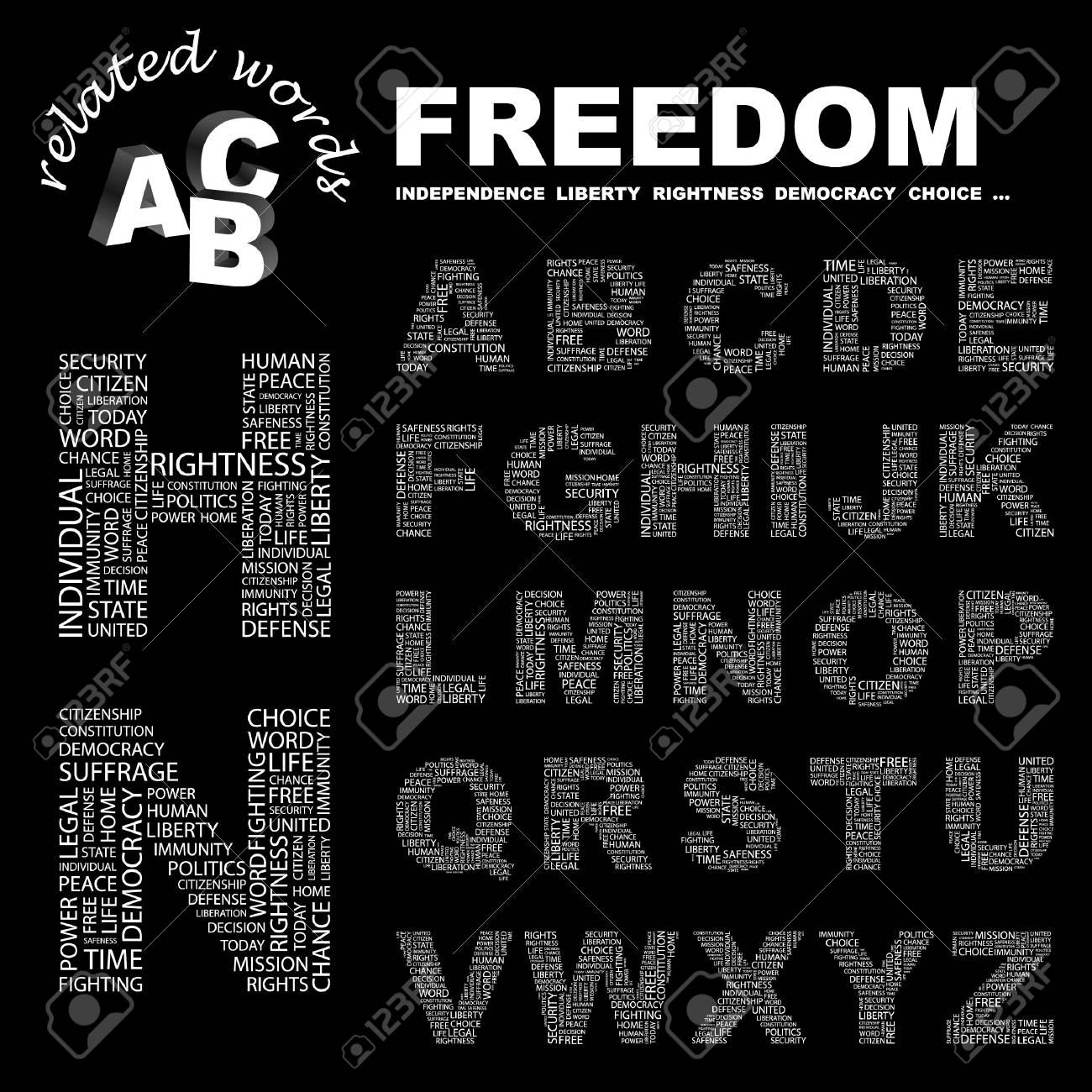 FREEDOM. letter collection. Word cloud illustration. Stock Vector - 6920477