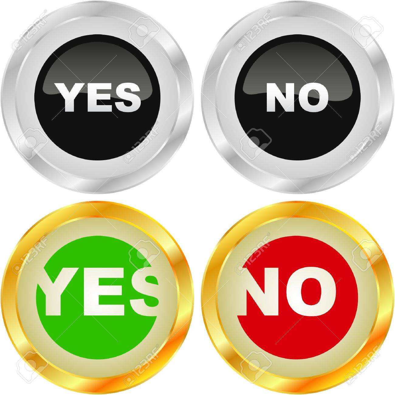 Yes and No icon. Vector beautiful icon set. Stock Vector - 7030757