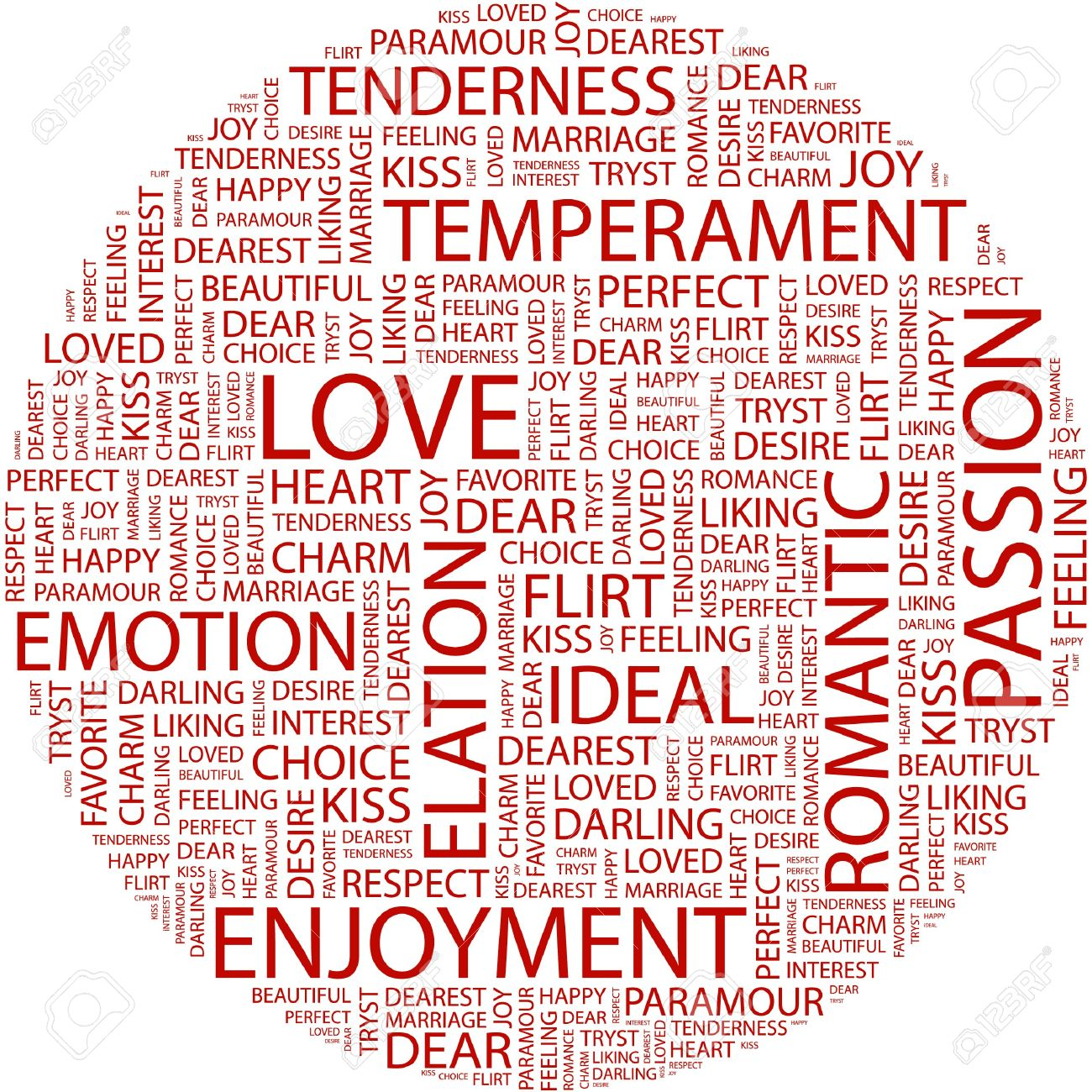 Love Word Collage On White Background Stock Vector