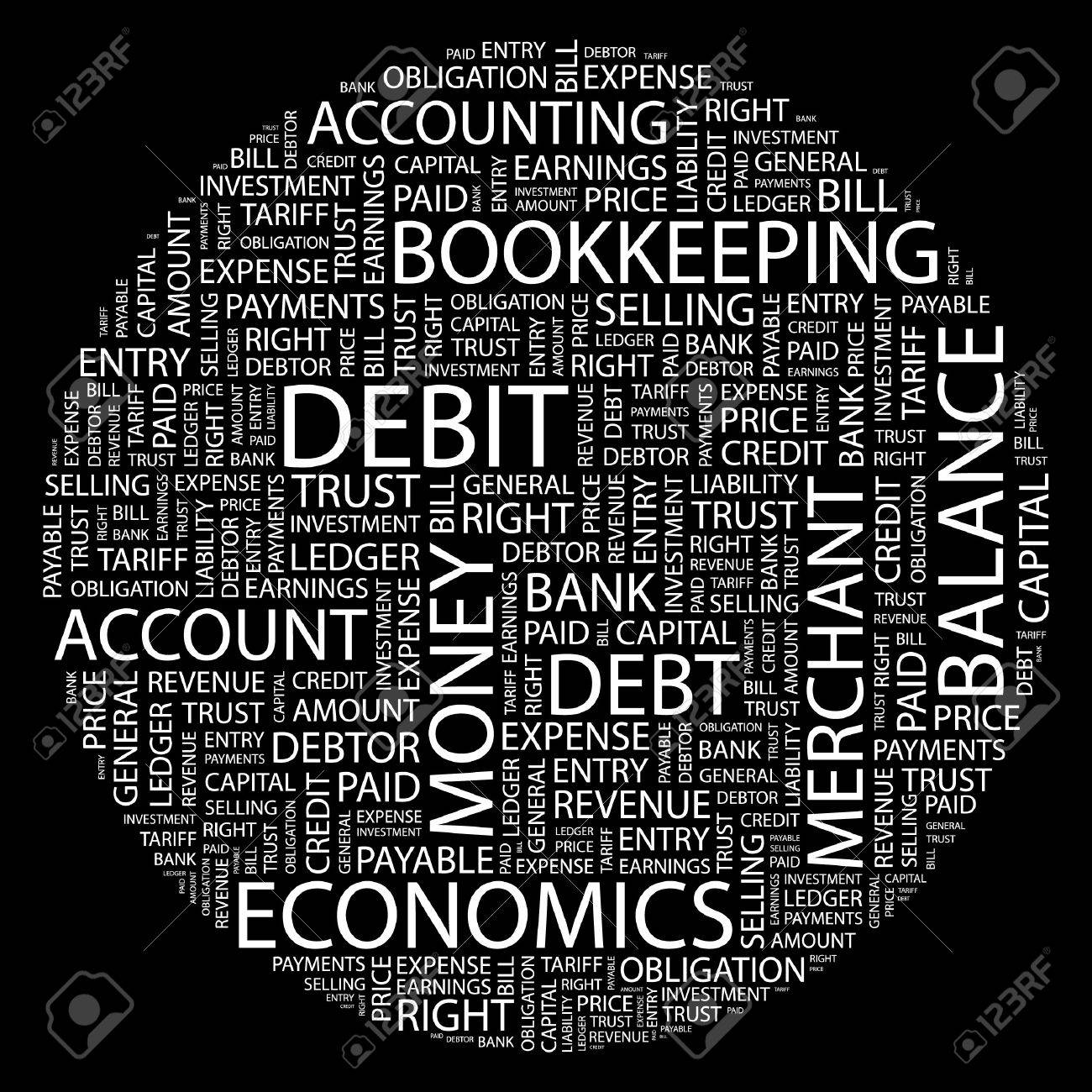DEBIT. Word collage on black background. Stock Vector - 7031894