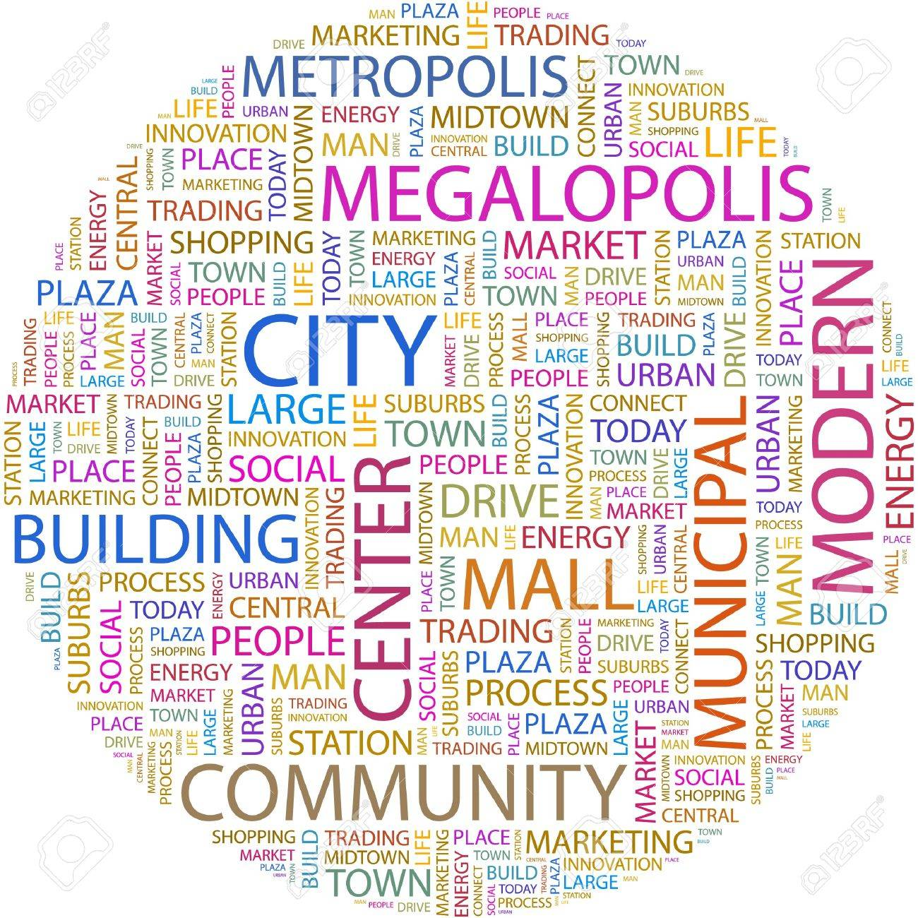 CITY. Word collage on white background. Stock Vector - 7066734