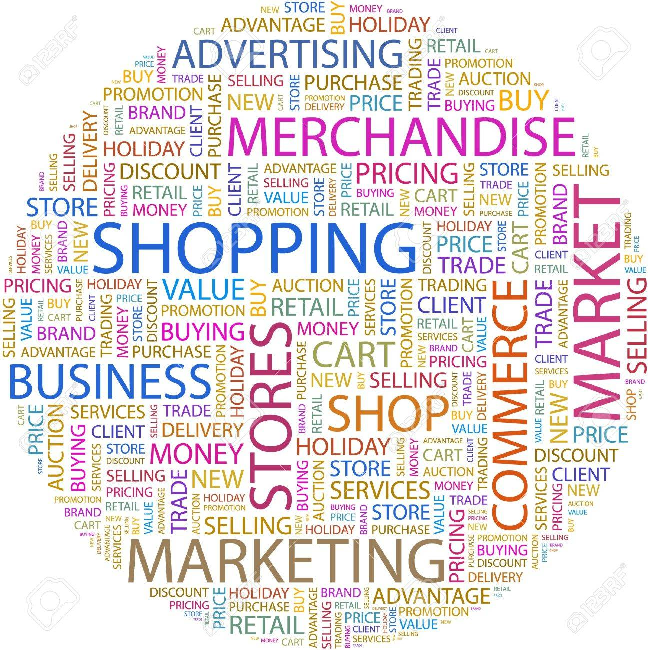 SHOPPING. Word Collage On White Background. Royalty Free Cliparts ...