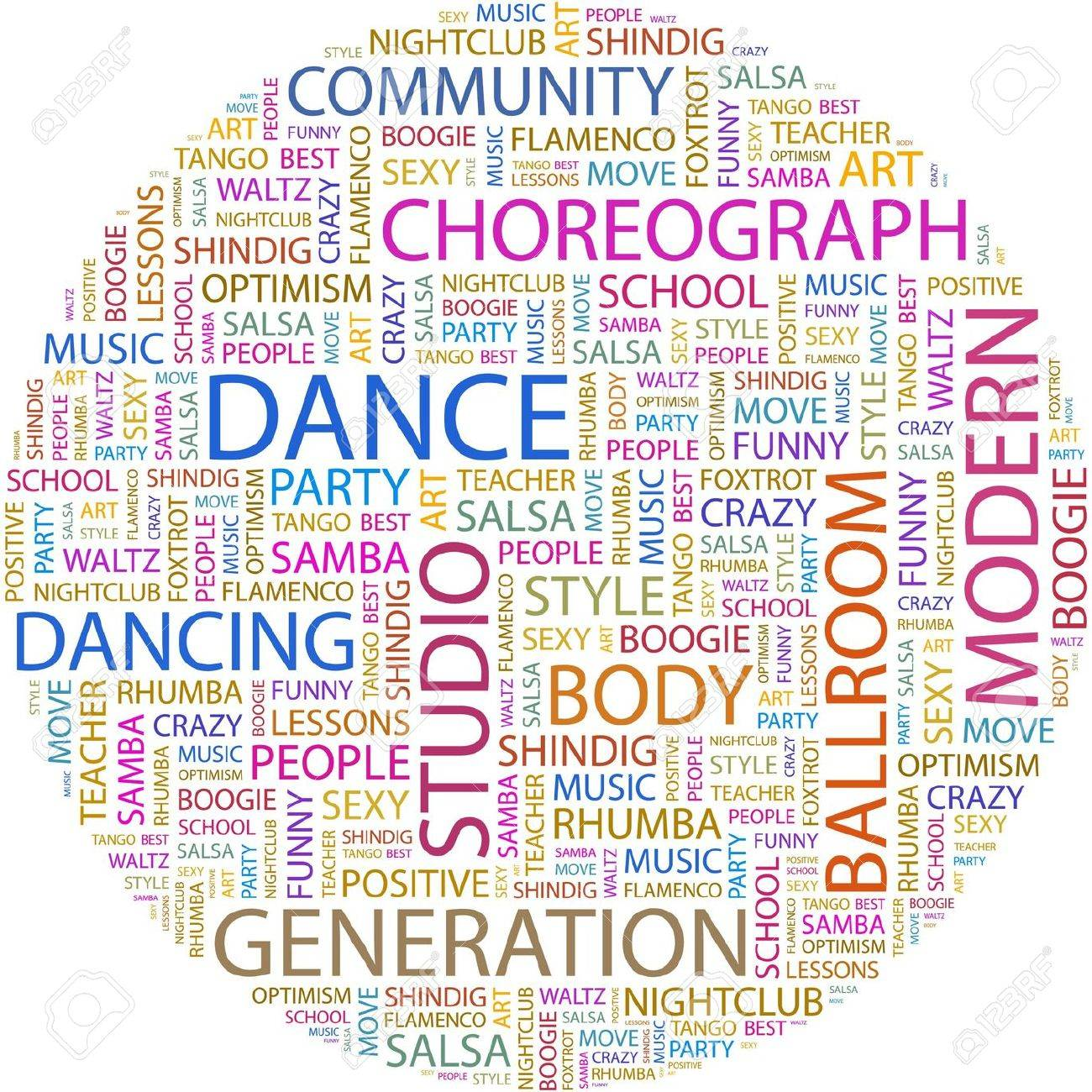 DANCE. Word collage on white background. Stock Vector - 7066682