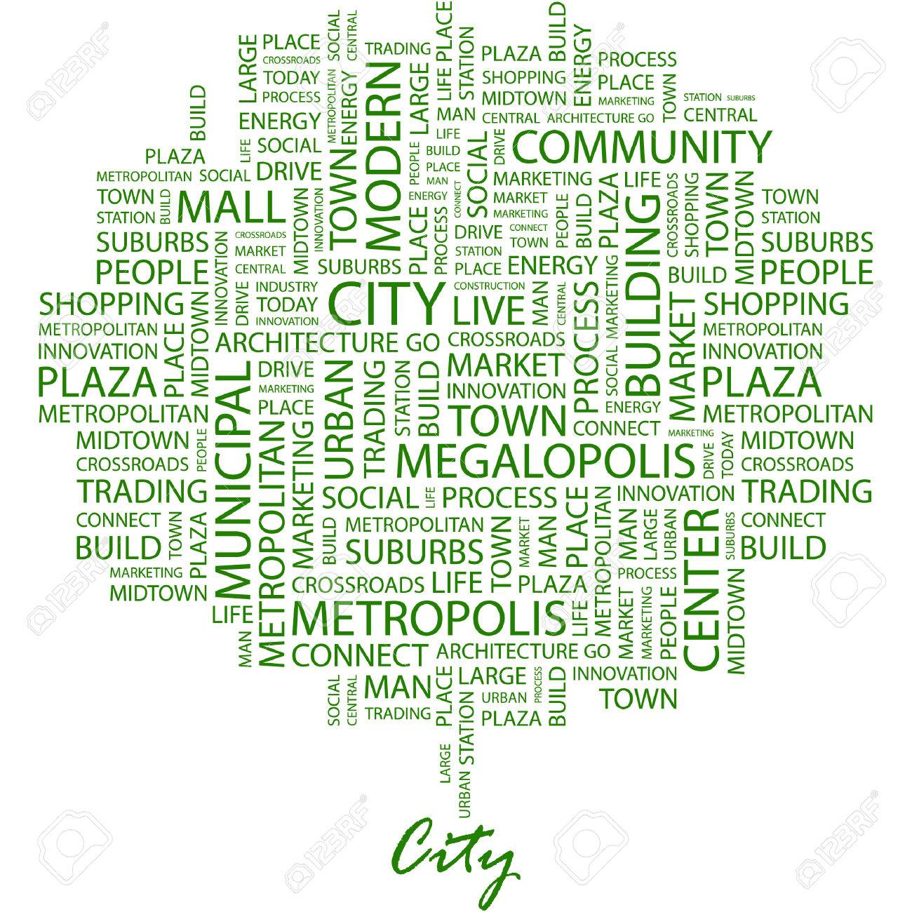 CITY. Illustration with different association terms in white background. Stock Vector - 7170292
