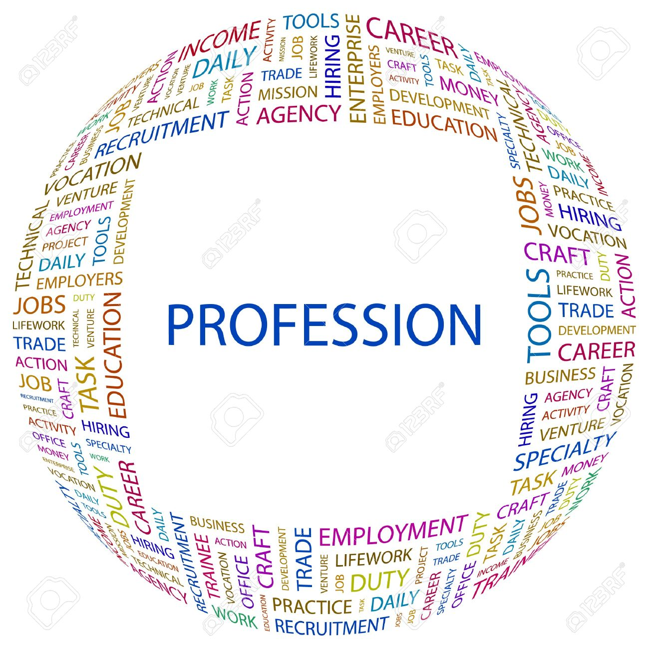 PROFESSION. Word collage on white background.  illustration. Stock Vector - 7331091
