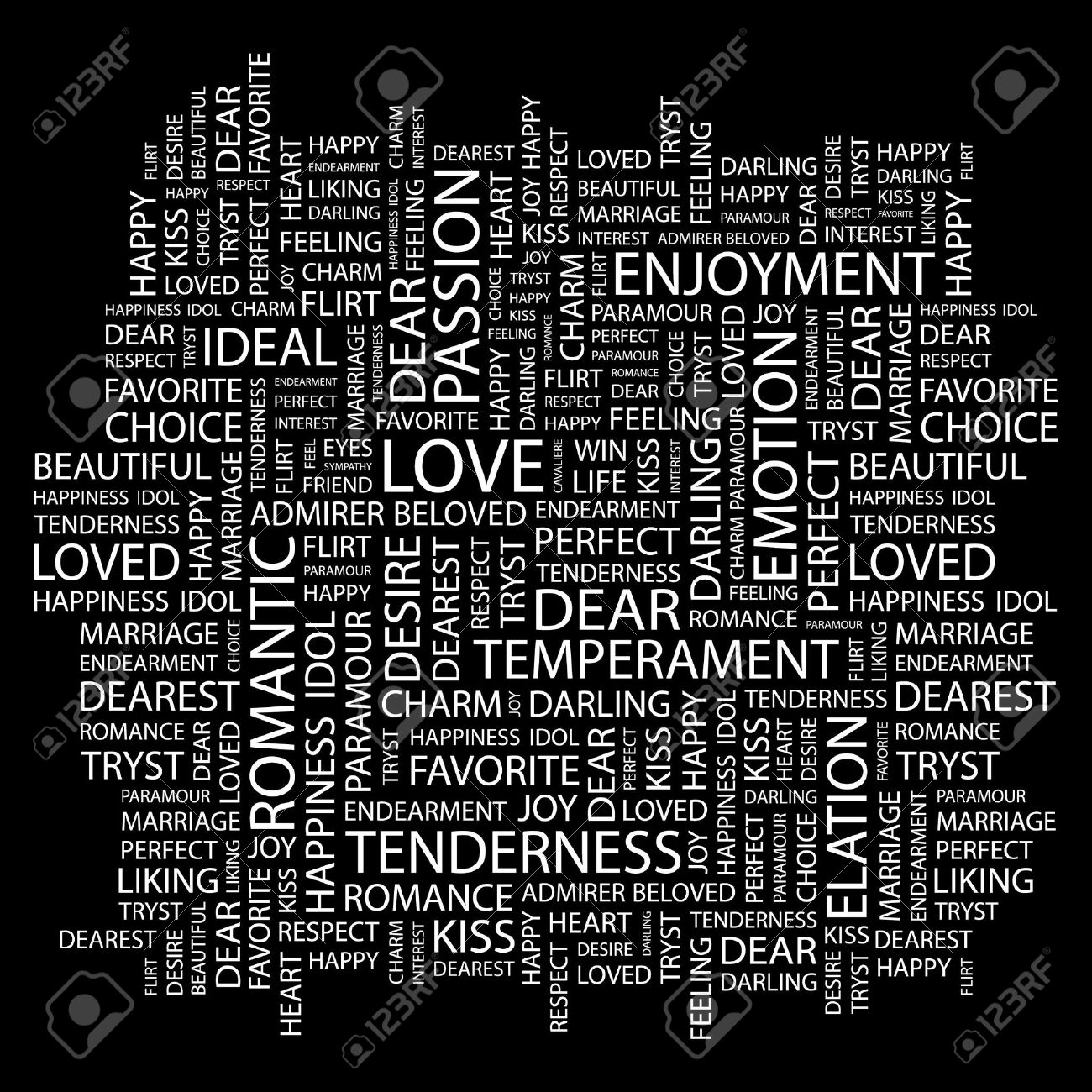 LOVE. Word collage on black background.  illustration. Stock Vector - 7331095