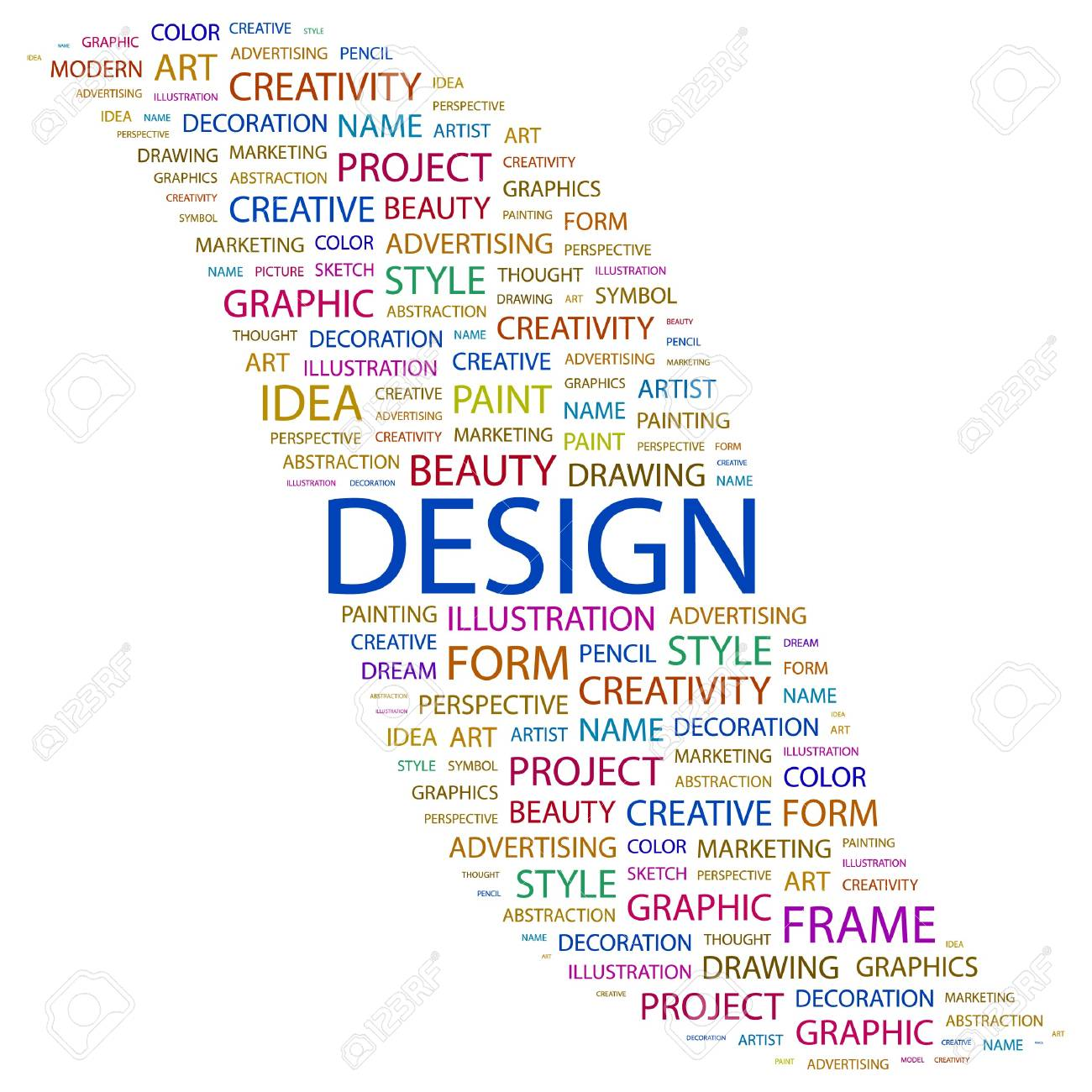 DESIGN. Word collage on white background.  illustration. Stock Vector - 7338252