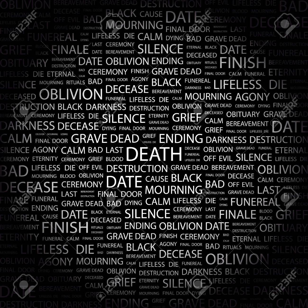 DEATH. Word collage on black background.  illustration. Stock Vector - 7341182