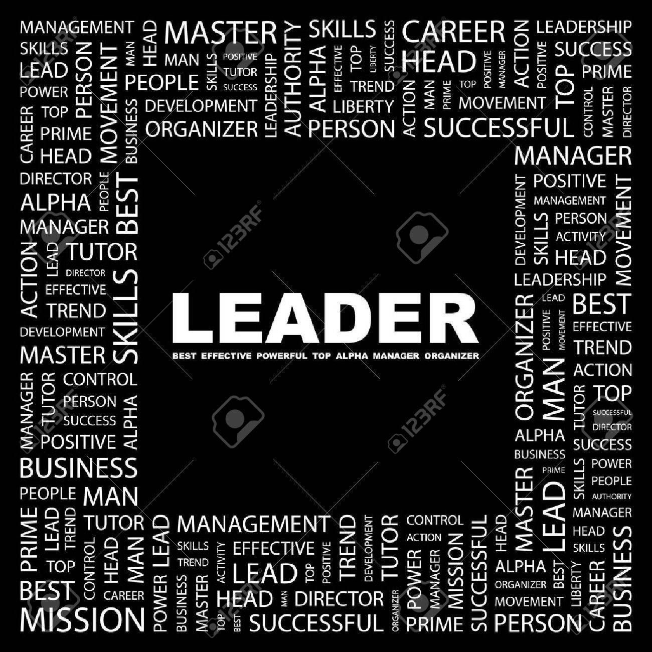 LEADER. Word collage on black background. illustration. Stock Vector - 7338087