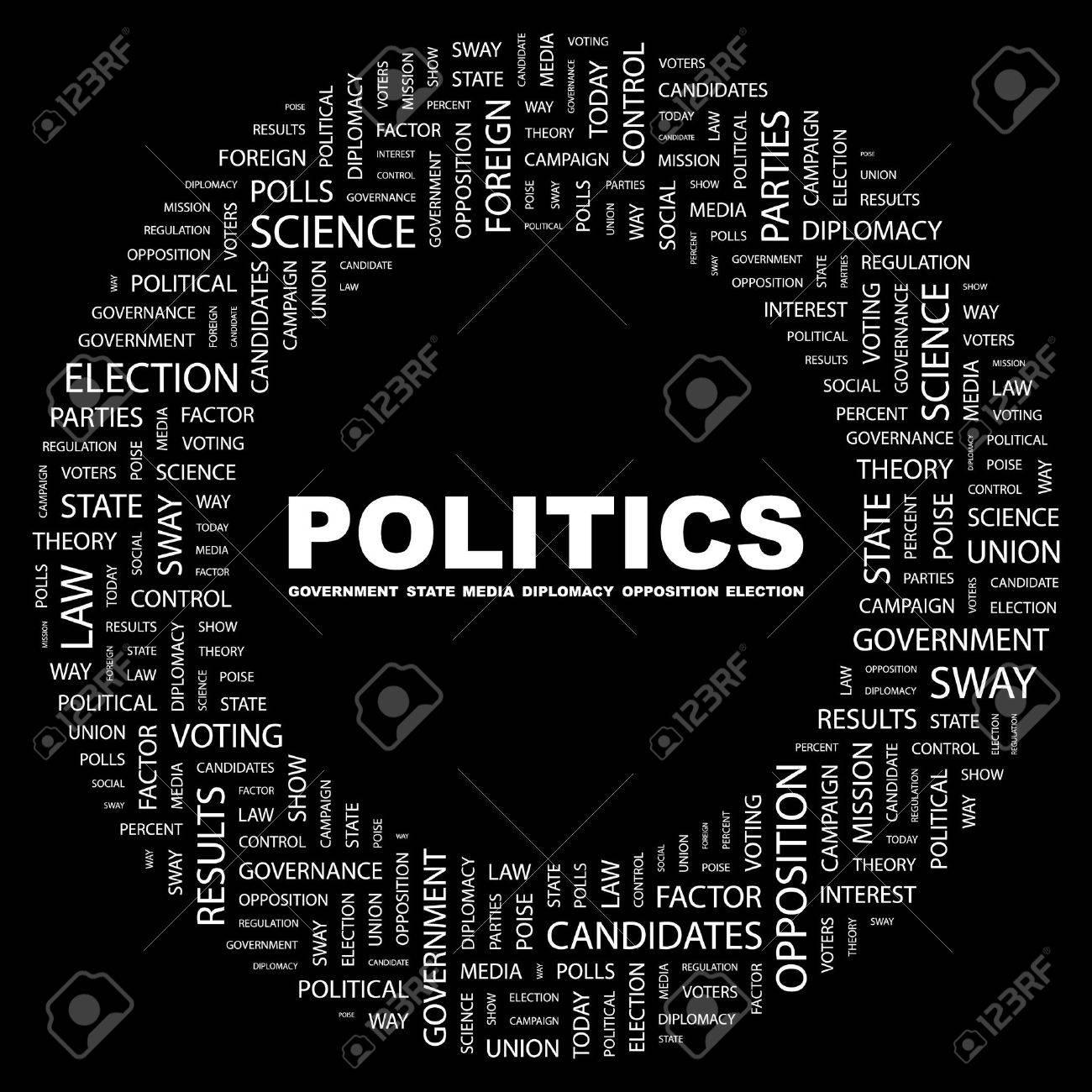 POLITICS. Word collage on black background. illustration. - 7339799