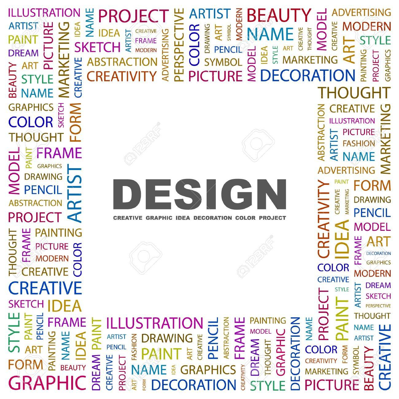 DESIGN. Word collage on white background.  illustration. Standard-Bild - 7338125