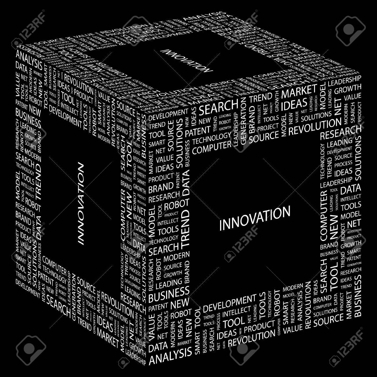 INNOVATION. Word collage on black background. illustration. Stock Vector - 7341524