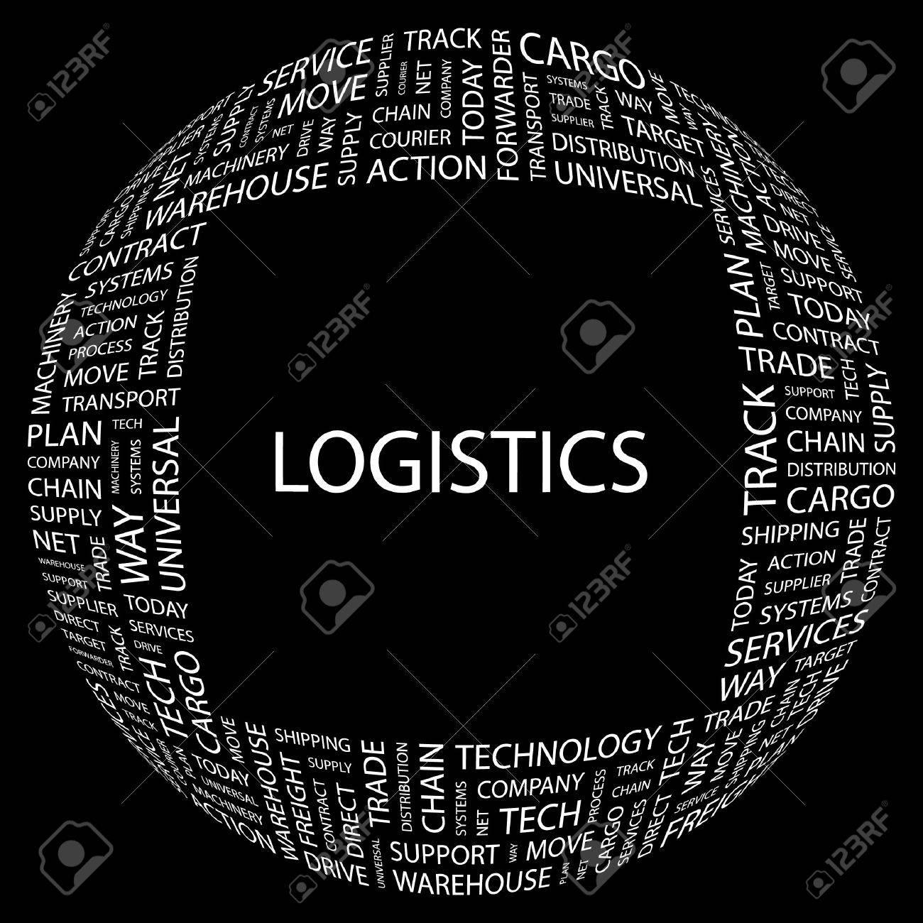 LOGISTICS. Word collage on black background.  illustration. Stock Vector - 7339932