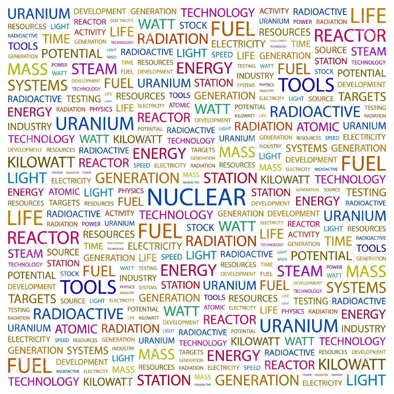 NUCLEAR. Word collage on white background. illustration. Stock Vector - 7340884