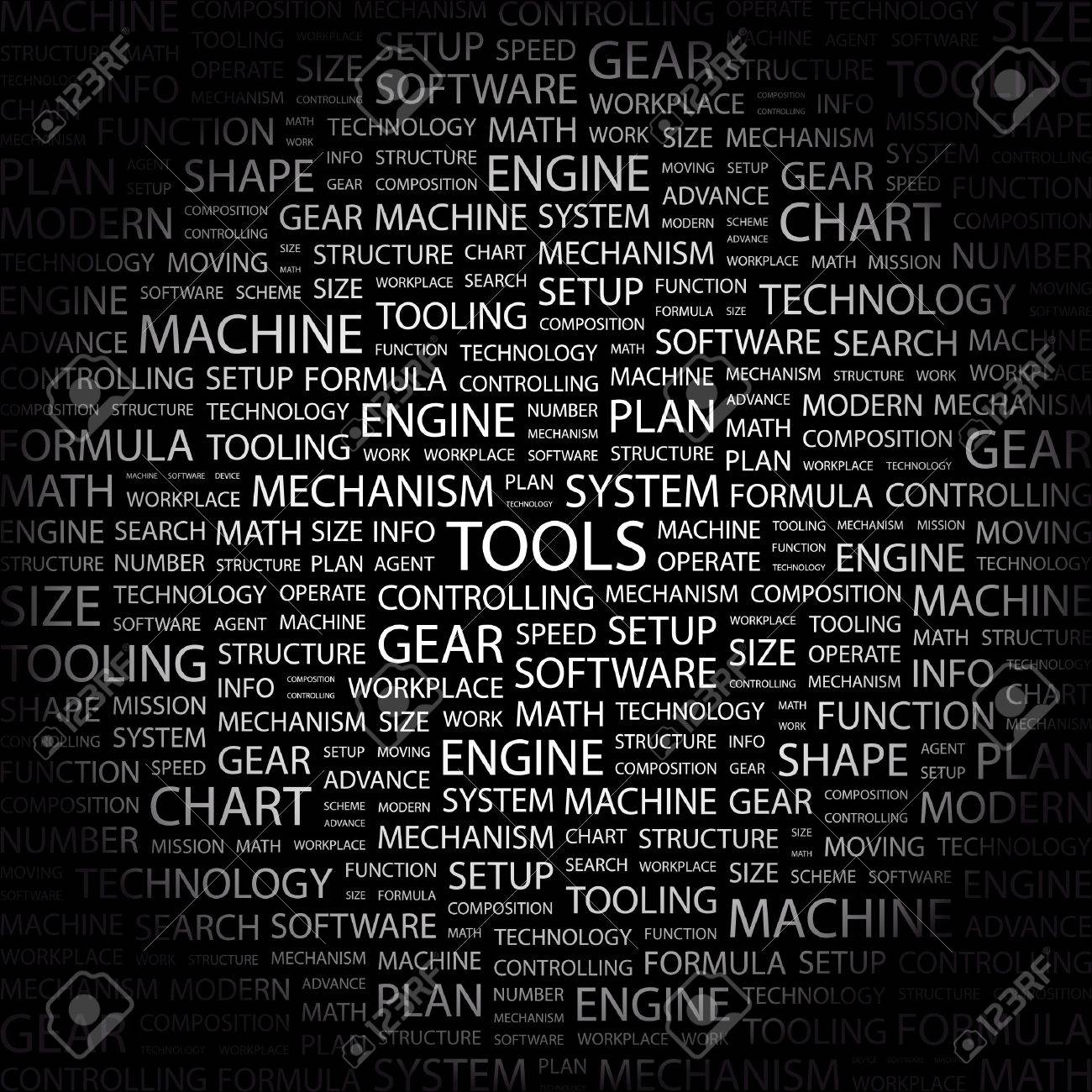 TOOLS. Word collage on black background. Stock Vector - 7349127