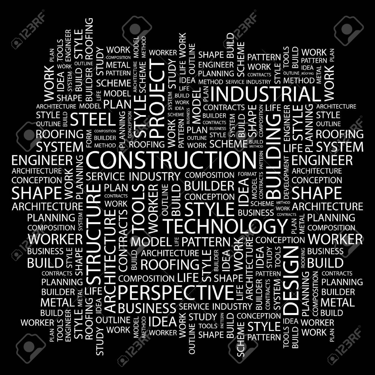 CONSTRUCTION. Word collage on black background. Stock Vector - 7346847