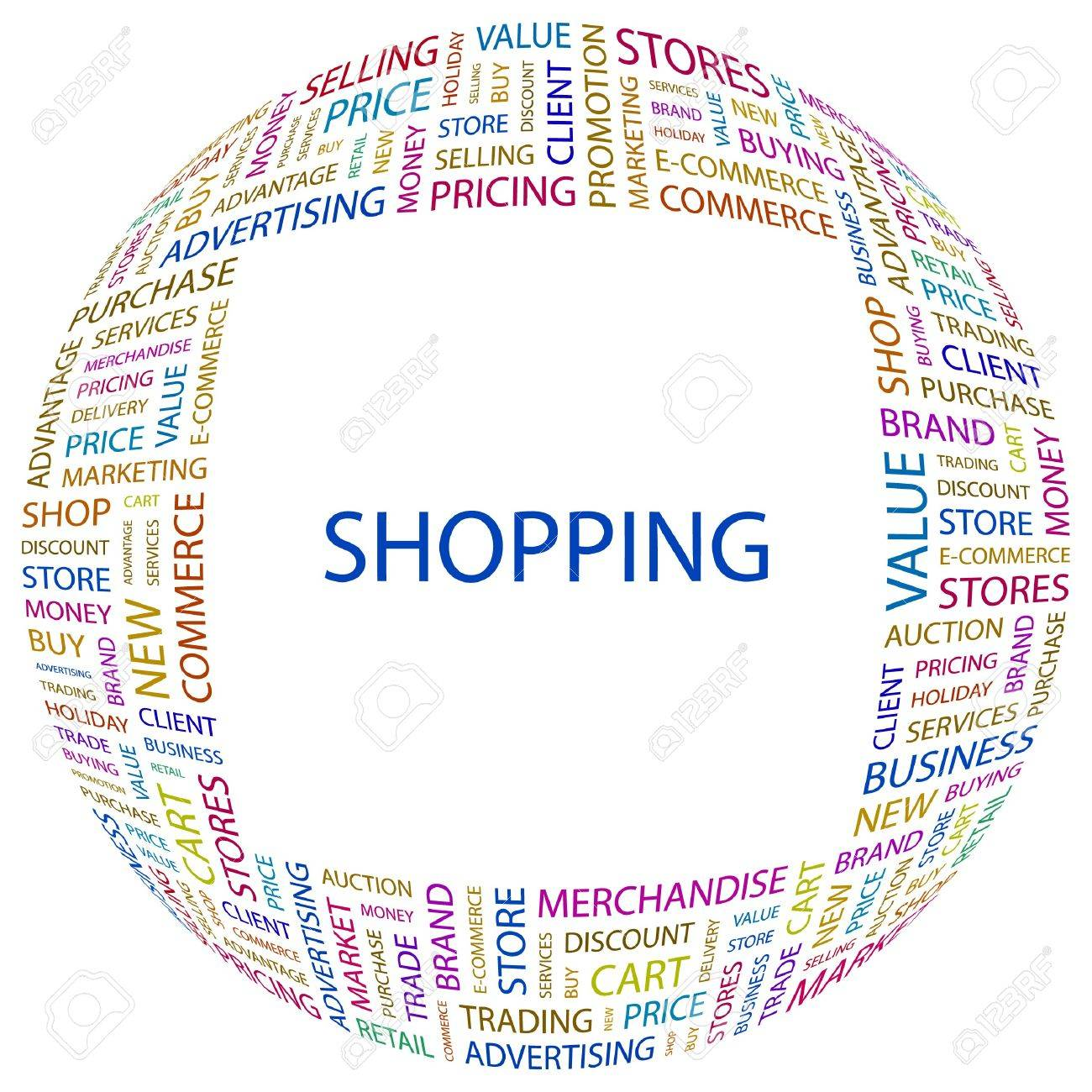 SHOPPING. Word collage on white background. Stock Vector - 7346969