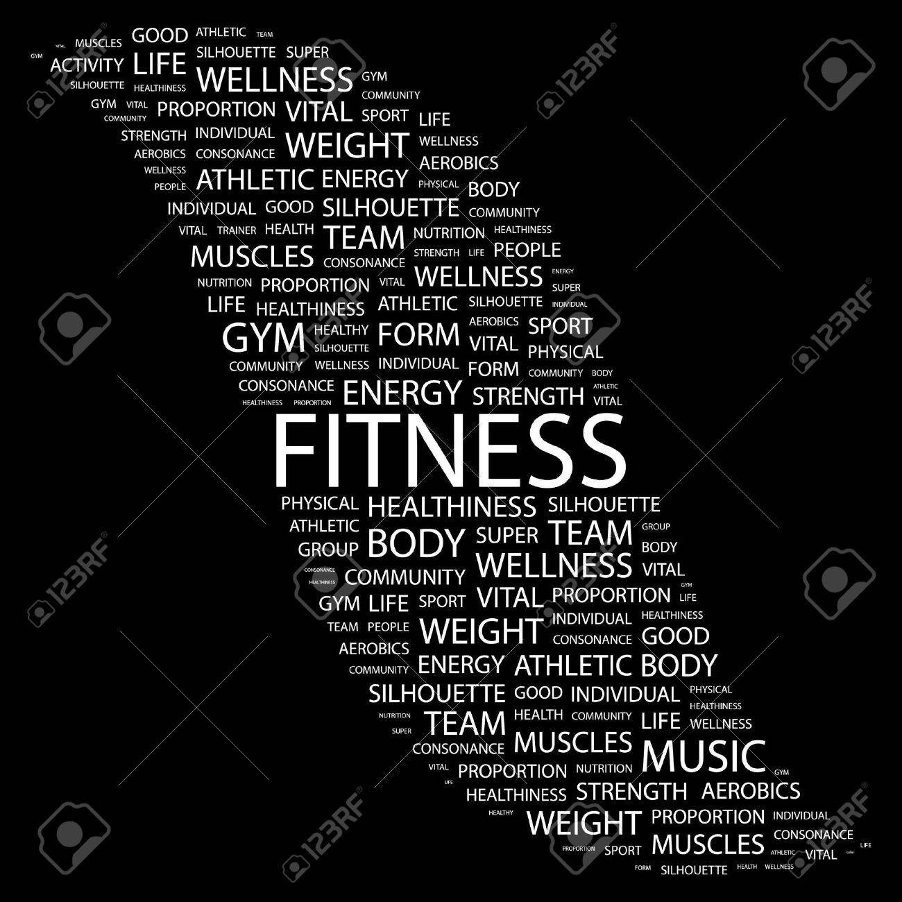 FITNESS. Word collage on black background. Stock Vector - 7346557