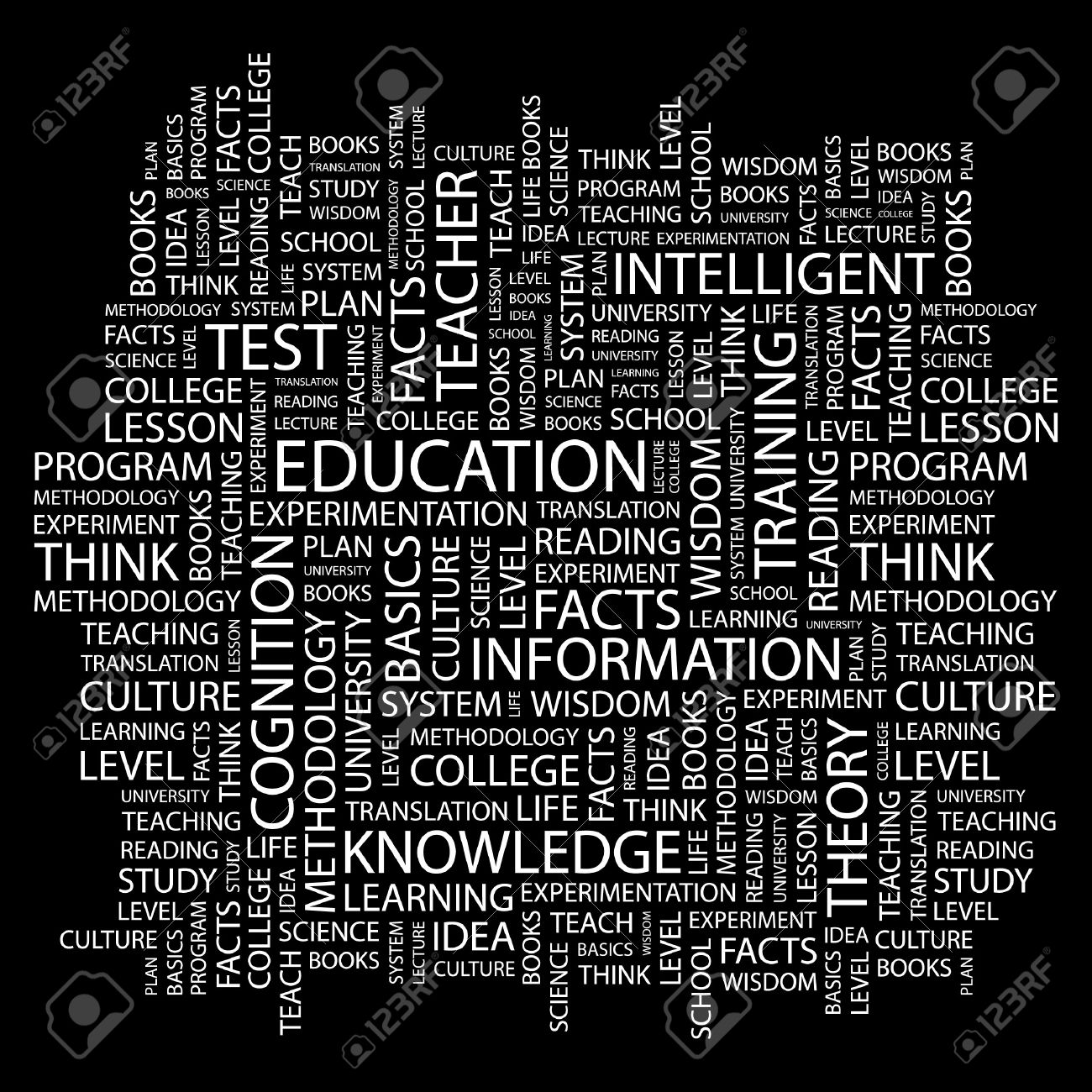 EDUCATION. Word collage on black background. Stock Vector - 7346781