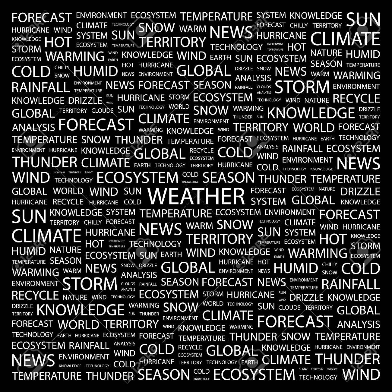 WEATHER. Word collage on black background.  illustration. Stock Vector - 7341053