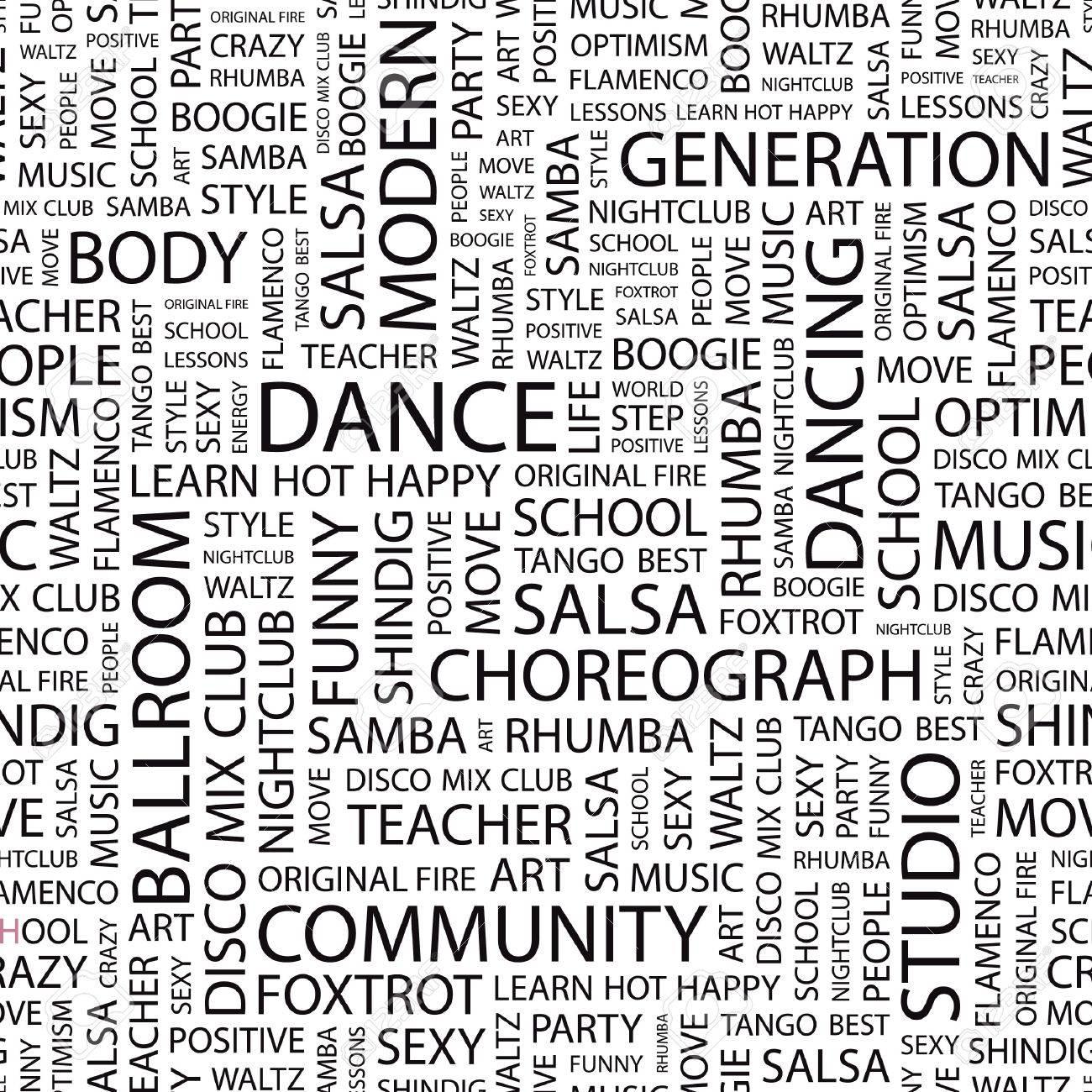 DANCE. Seamless   pattern with word cloud. Stock Vector - 7339644