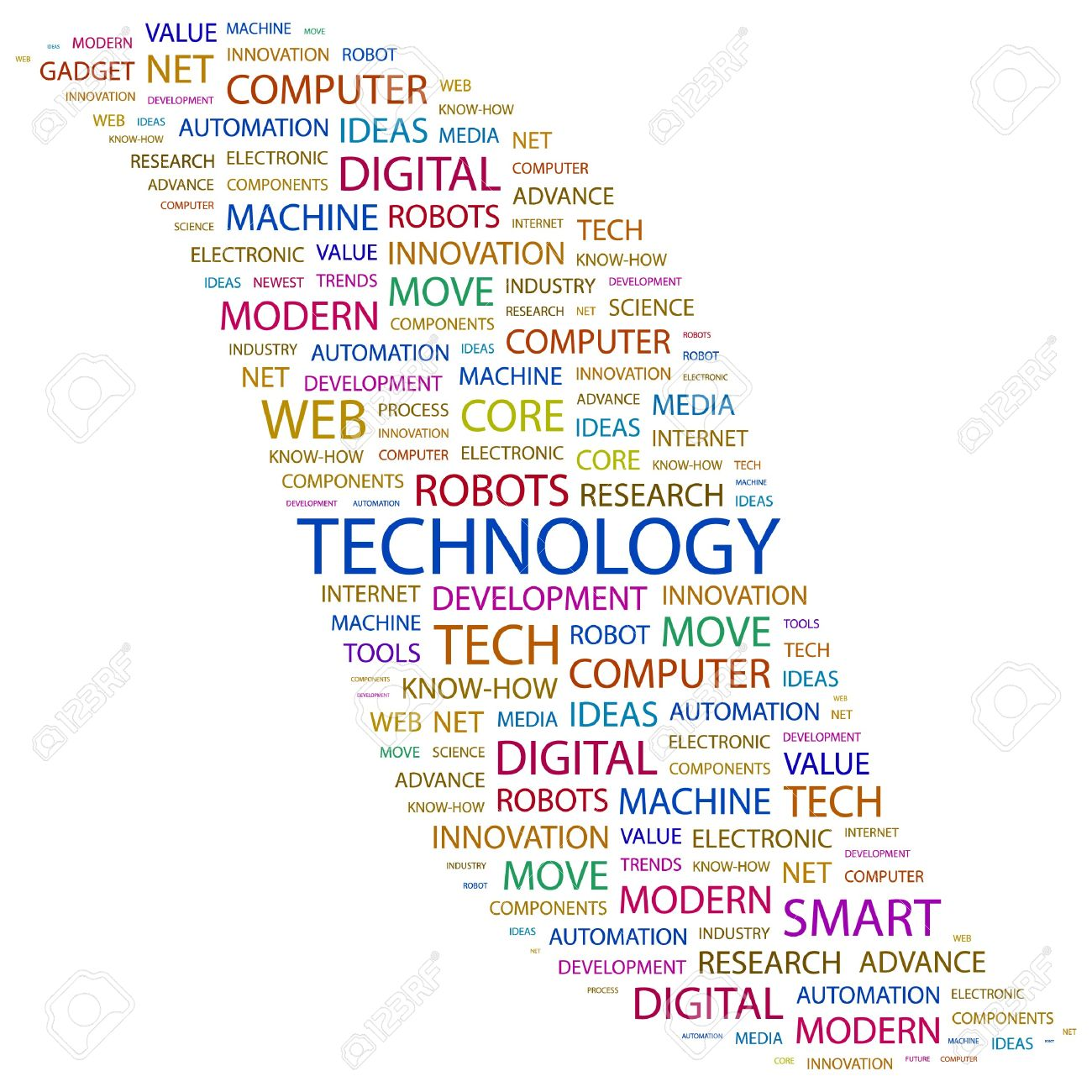 TECHNOLOGY. Word collage on white background. illustration. Stock Vector - 7338075