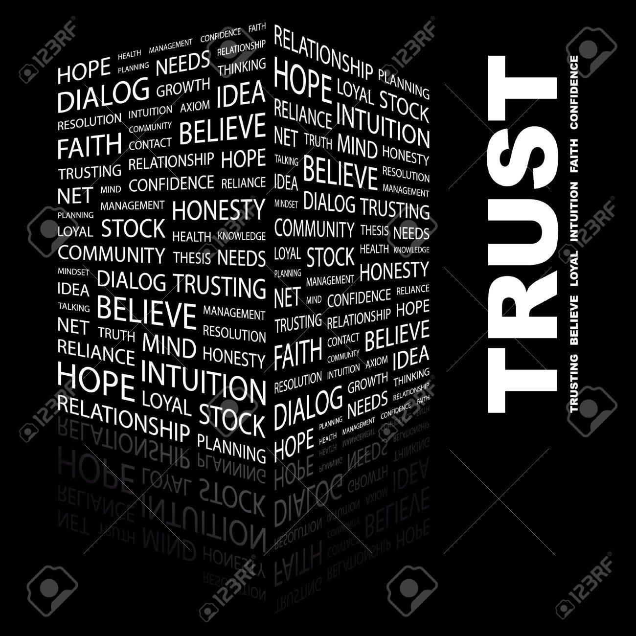 TRUST. Word collage on black background. illustration. Stock Vector - 7340153