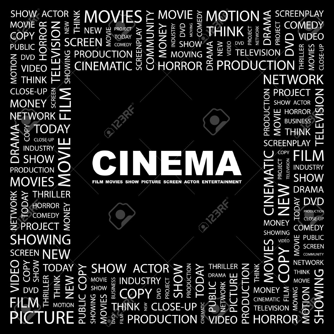 CINEMA. Word collage on black background.  illustration. Stock Vector - 7355643