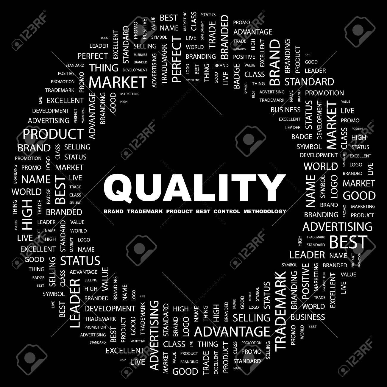 QUALITY. Word collage on black background illustration. Stock Vector - 7356785