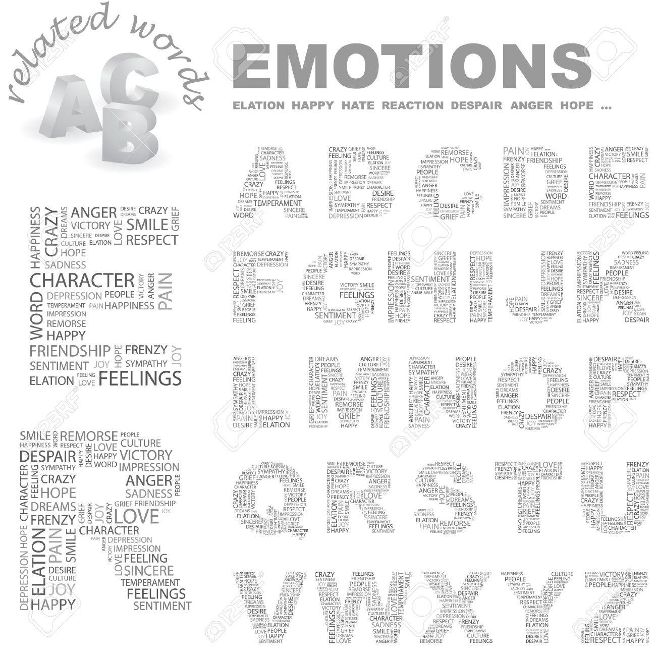 EMOTIONS. letter collection. Wordcloud illustration. - 7355717