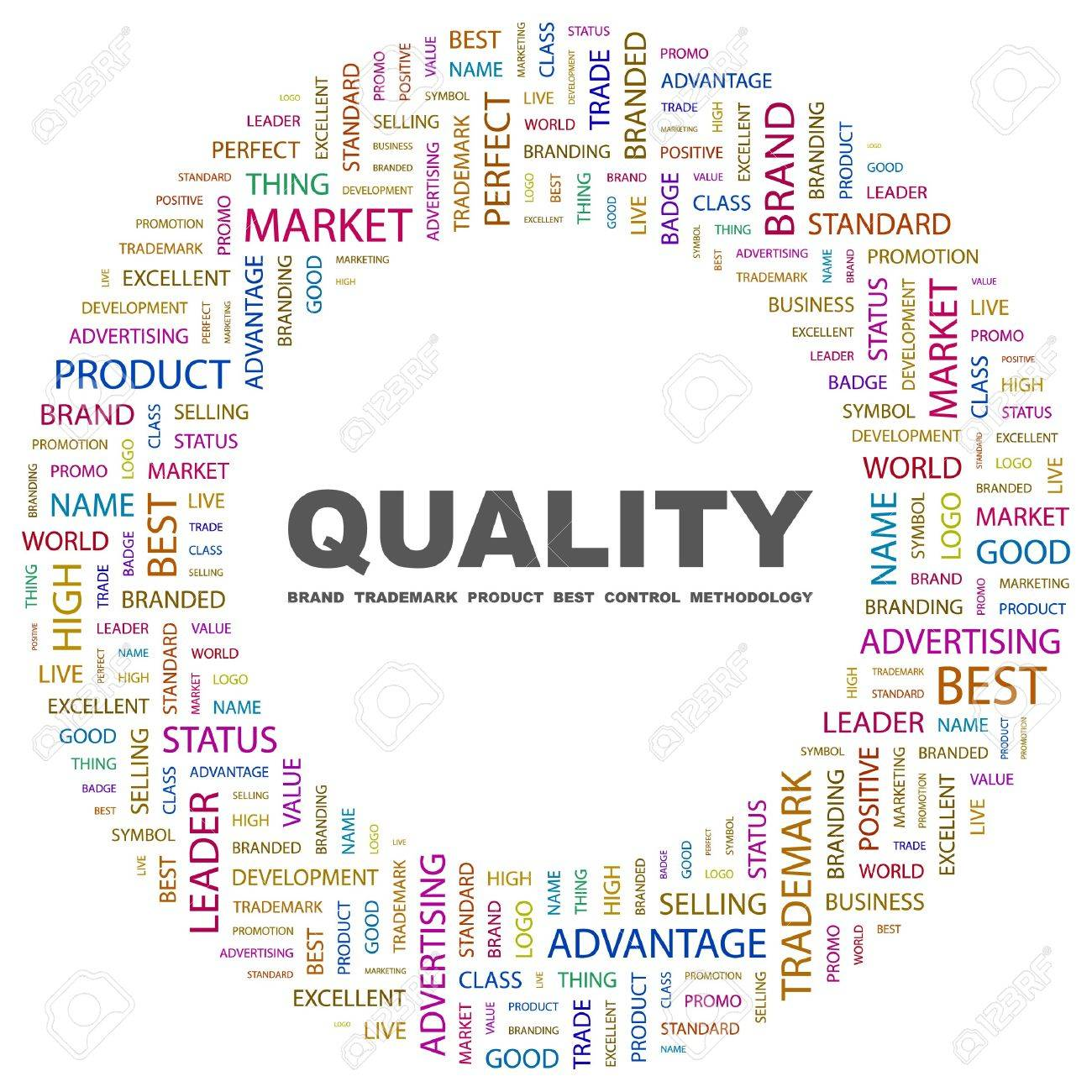 QUALITY. Word collage on white background.  illustration. Stock Vector - 7356947