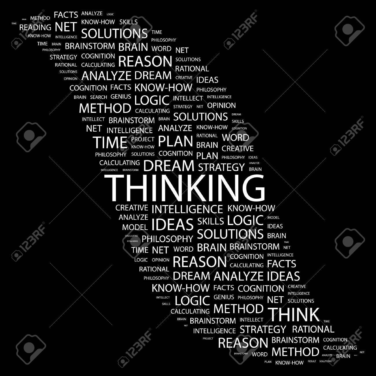 THINKING. Word collage on black background. illustration. Stock Vector - 7355610