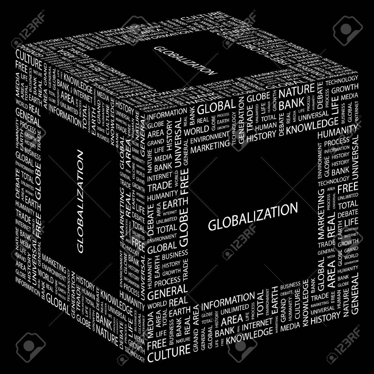 GLOBALIZATION. Word collage on black background.  illustration. Stock Vector - 7355955