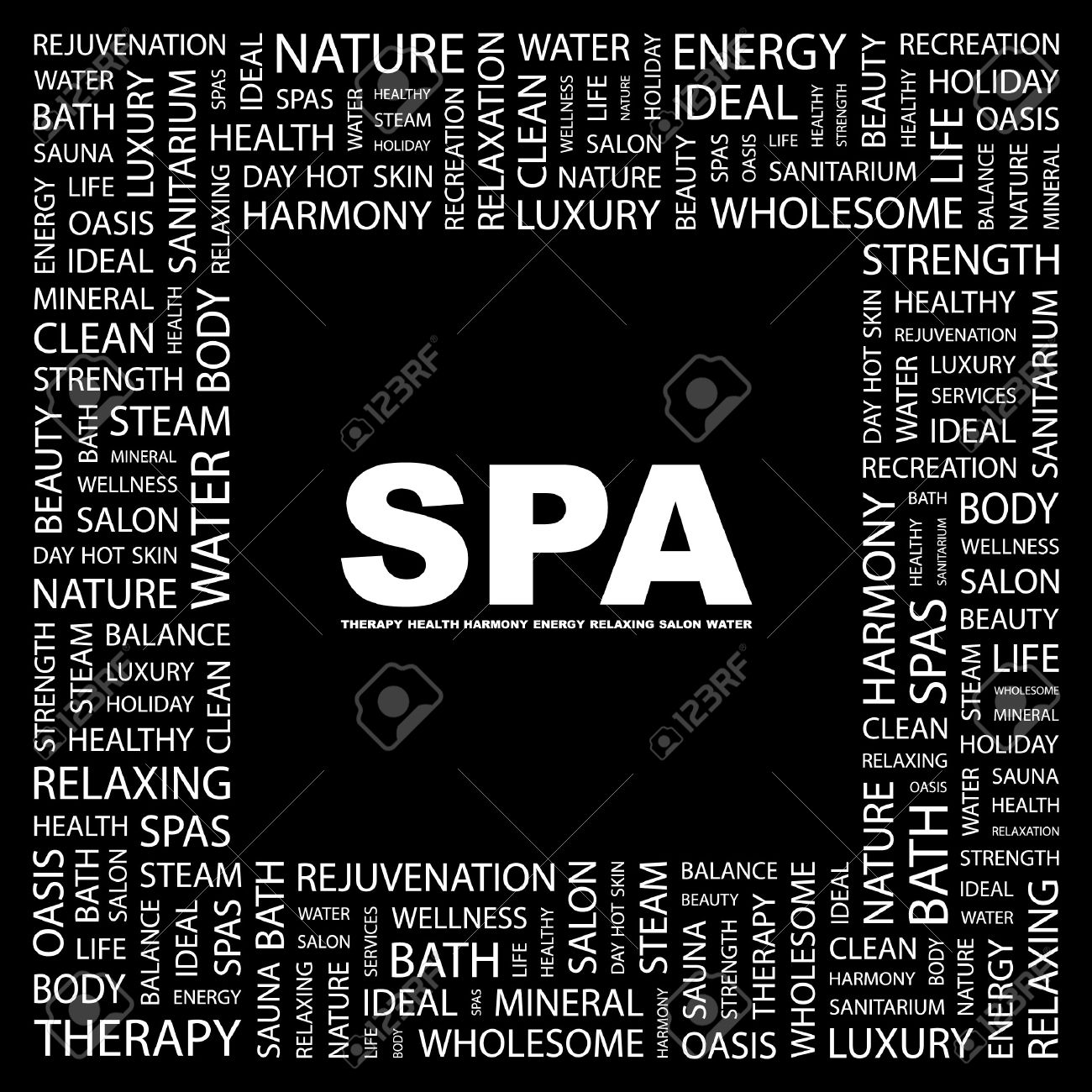 SPA. Word collage on black background.  illustration. Stock Vector - 7355605