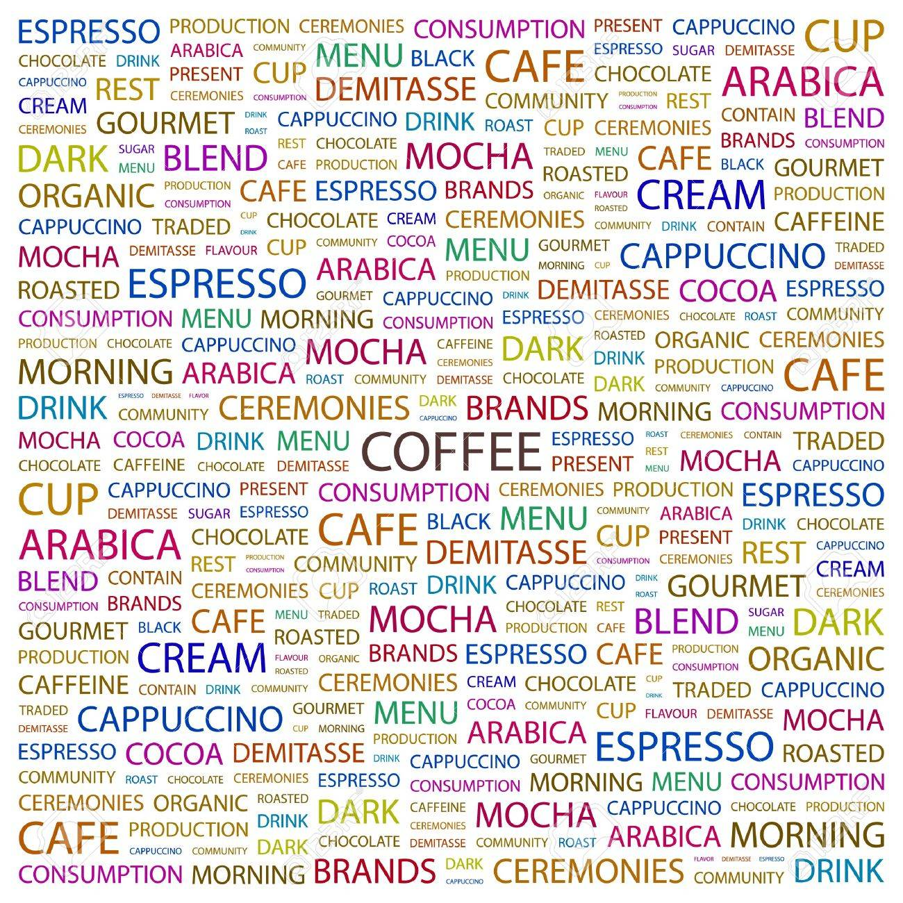 COFFEE. Word collage on white background illustration. Stock Vector - 7358445