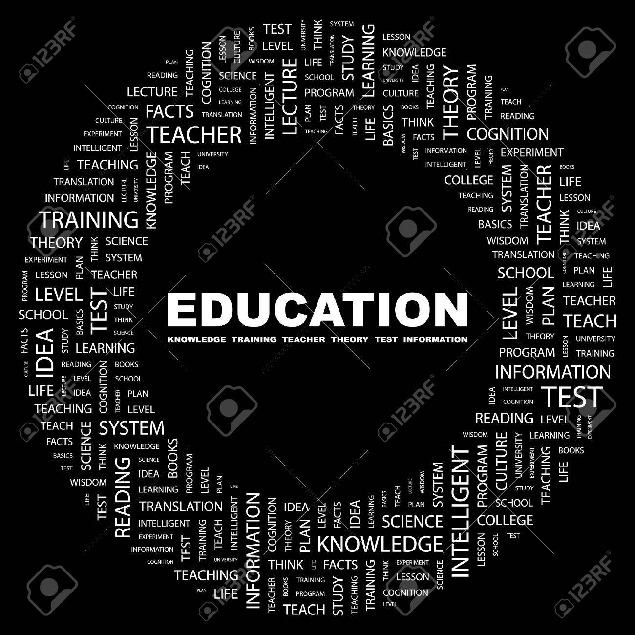 EDUCATION. Word collage on black background.  illustration. Stock Vector - 7356461
