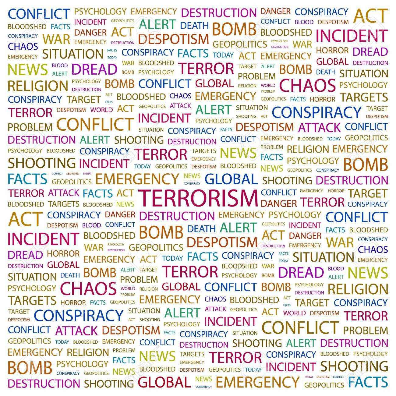 TERRORISM. Word collage on white background. illustration. Stock Vector - 7357308