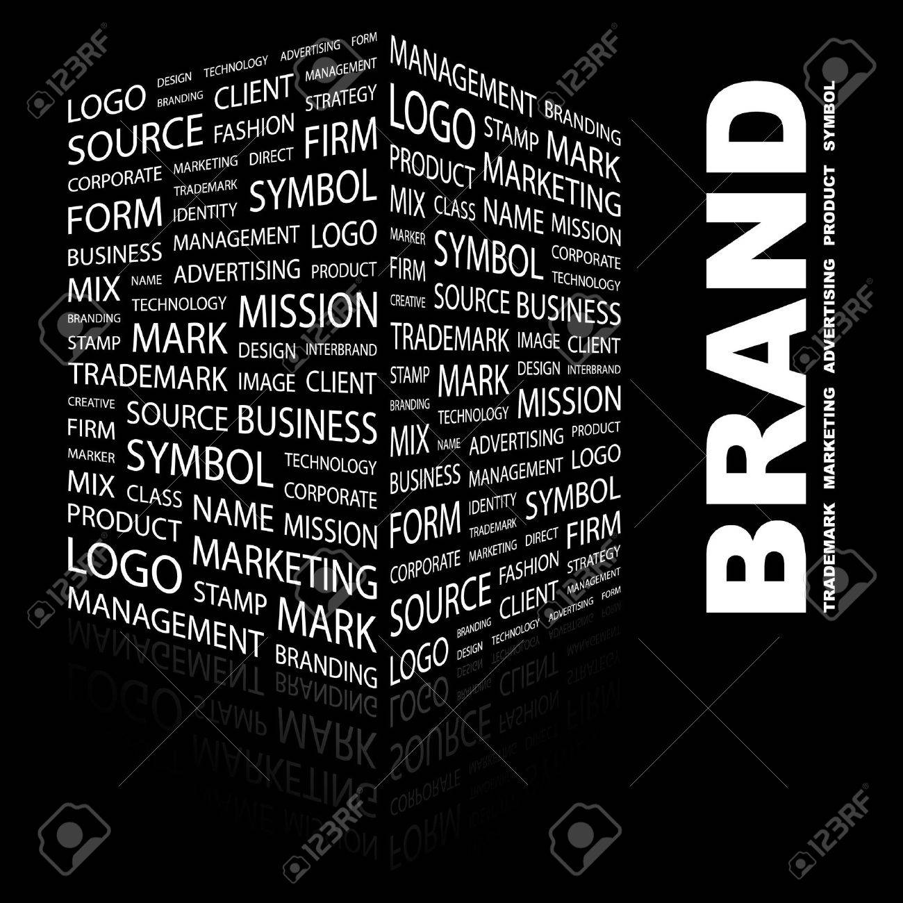 BRAND. Word collage on black background. illustration. Stock Vector - 7357229
