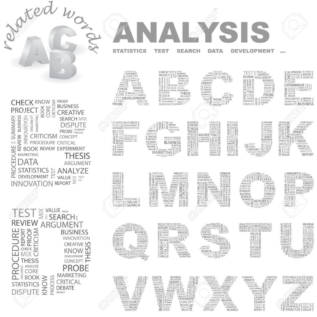 ANALYSIS.  letter collection. Wordcloud illustration. Stock Vector - 7355715