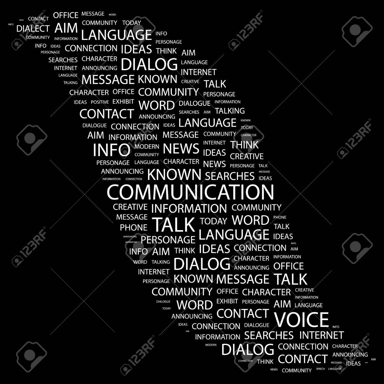 COMMUNICATION. Word collage on black background. illustration. Stock Vector - 7355655