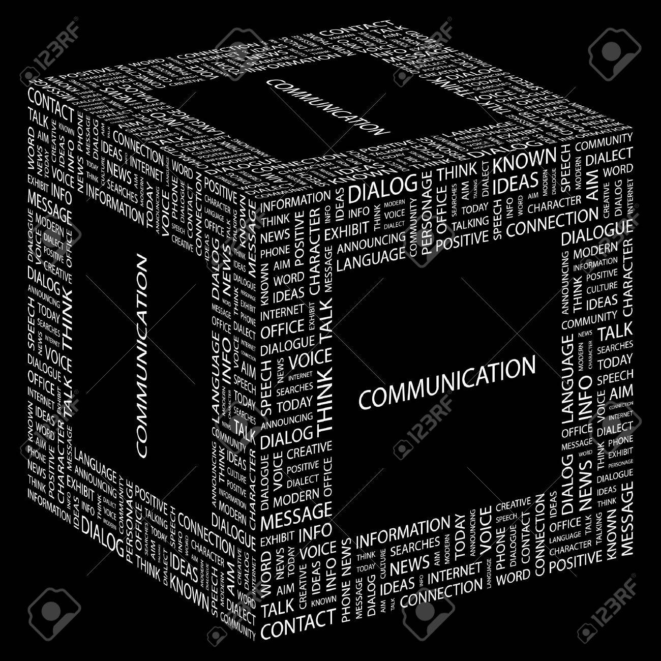 COMMUNICATION. Word collage on black background illustration. Stock Vector - 7356113