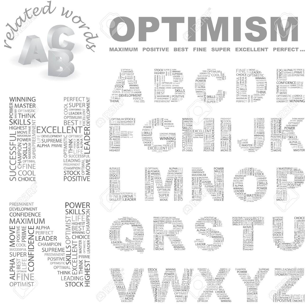 OPTIMISM. letter collection. Wordcloud illustration. Stock Vector - 7355791