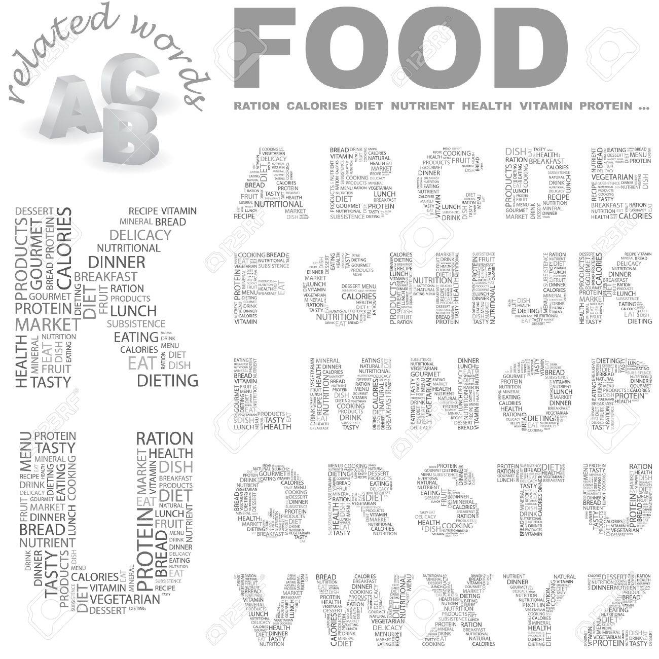 FOOD.  letter collection. Wordcloud illustration. Stock Vector - 7355787